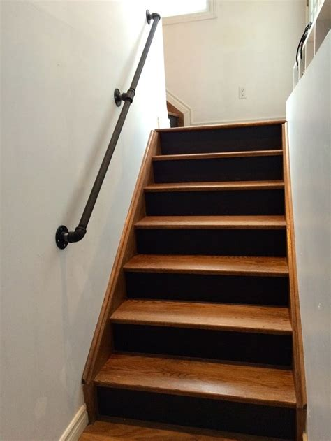 Black Handrail For Stairs Gas Pipe Railing Walnut Stairs Black Risers Gas Pipes