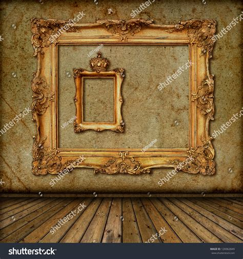 tapete mit bilderrahmen interior golden frame on wall room stock photo 126962849