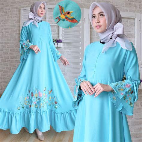 Baju Wanita Gamis Aleysa Jumbo Maxy Muslim Modern Modis Unik Cantik gamis modern crepe aplikasi bordir baju muslim remaja