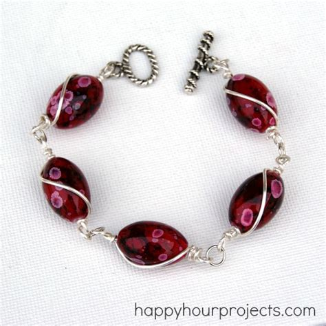 how to make a beaded bracelet with wire wire wrapped bead bracelet happy hour projects