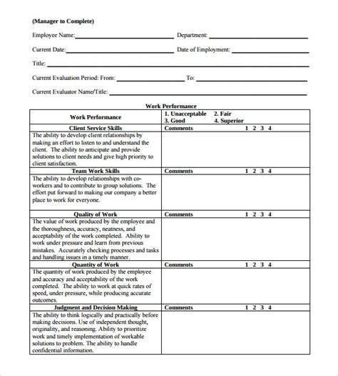 Staff Review Form Template by Employee Review Forms 8 Free Documents In Pdf
