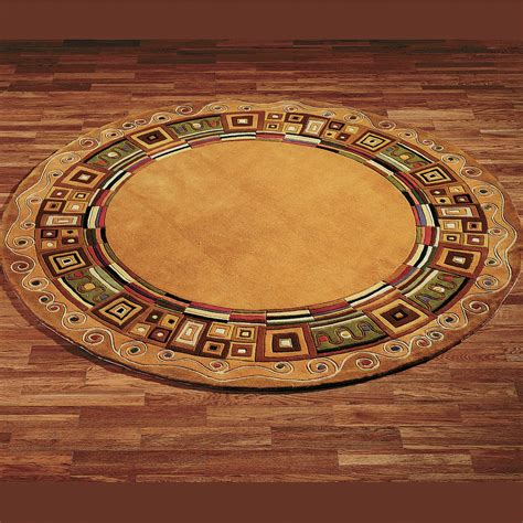 Circular Area Rug Inlaid Border Area Rugs