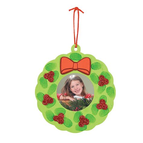 thumbprint wreath picture frame christmas ornament craft