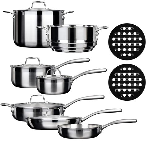 induction cooking with all clad duxtop whole clad tri ply stainless steel 14 cookware set ssc 14pc review 2017