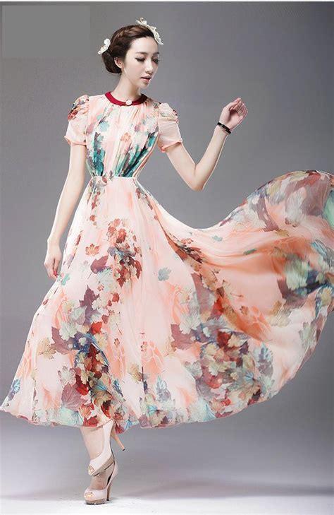 45215 White Autumn Leaves S M L Dress Le180118 Import sleeve autumn maple leaves print silk chiffon dress selangor end time 8 15 2014 9
