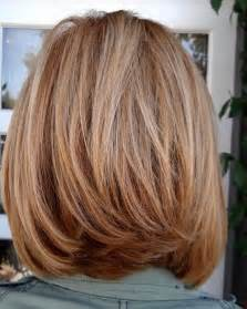 back view of mid length hair bob layered bob haircut front and back views