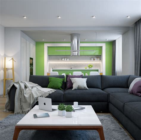 lime green accent wall 25 modern living rooms with cool clean lines