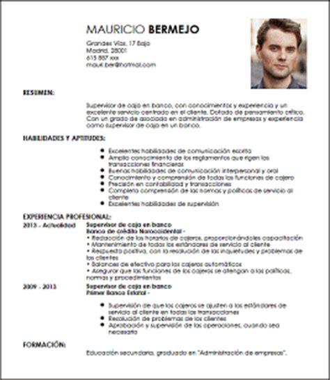 Modelo Curriculum Vitae Para Bancos Modelo Cv Supervisor De Caja En Banco Livecareer