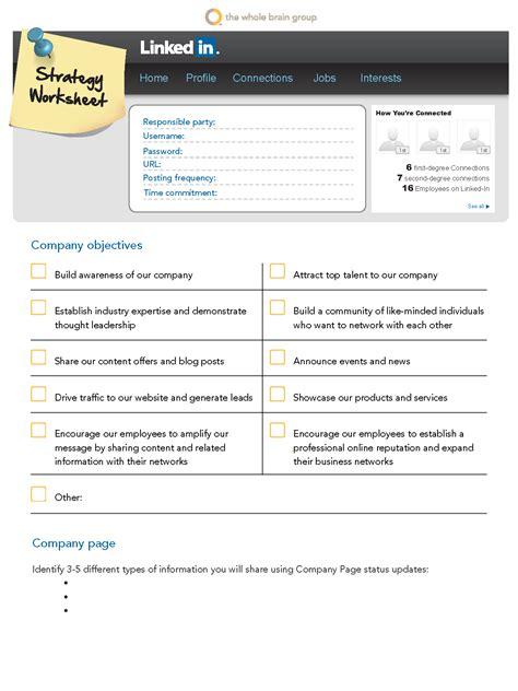 printable version of linkedin profile social media strategy 101 linkedin worksheet for businesses
