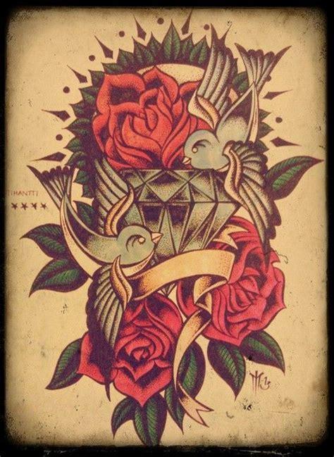tattoo diamond old school swallow rose diamond old school ink tattoo