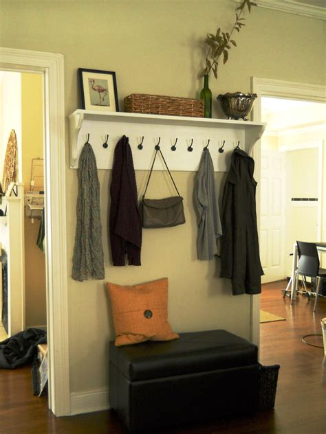 living room entryway entryway shelf hooks living well on the cheap