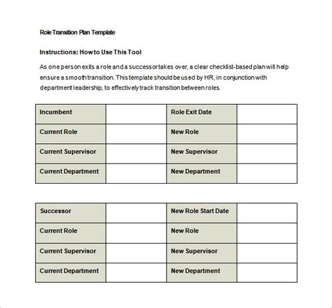 download excel template transition plan