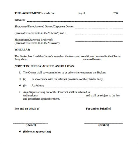 commission agreement template commission contract template 11 free documents