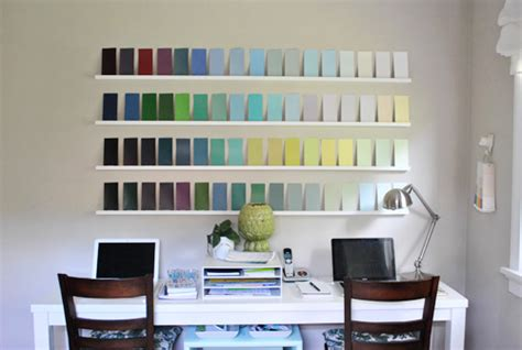 adding wall interest with a bunch of paint swatches house