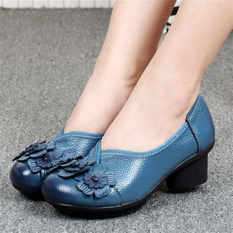 Hs 088 Sepatu Heels Casual Santai socofy casual soft high heel shoes in leather us 59 80