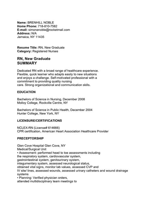 nursing resume sles for new graduates 1000 images about resume template on
