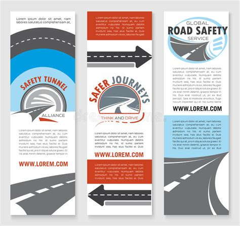 Road Safety Banner Template Set With Highway Icons Stock Vector Image 87840011 Safety Brochure Template Free