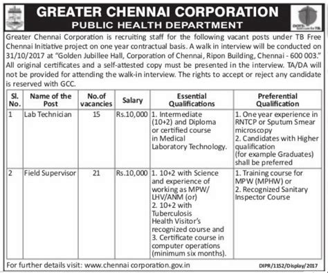Application For Mba In Madras 2017 by Chennai Corporation 2017 Recruitment For Technician Post