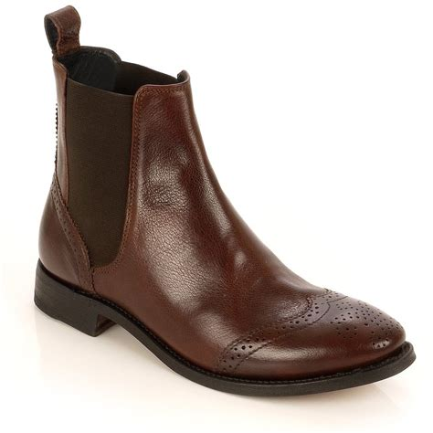 flat boot shoes shadow brown leather flat ankle boot