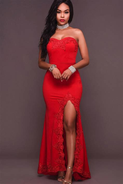 red strapless lace appliqued backless high slit sexy party