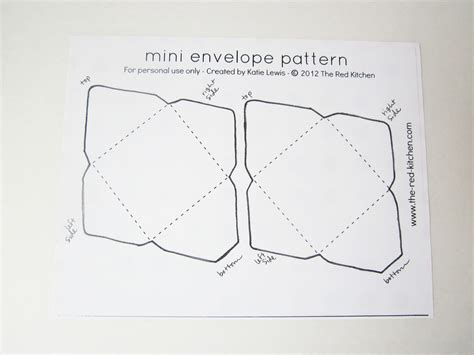 The Red Kitchen Diy Mini Envelopes Free Printable Pattern Tutorial Small Envelope Template