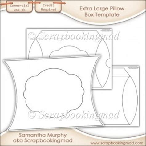 Extra Large Pillow Box Template Commercial Use 163 3 50 Commercial Use Scraps Large Pillow Box Template