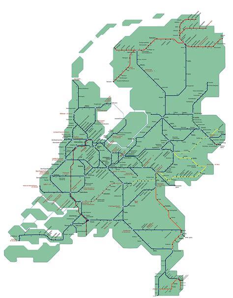netherlands ns map spoorkaart 2017 overzicht het spoorwegennet in