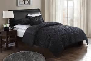 Black Bedspread Damask Embossed Comforter With 2 Shams