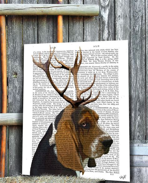 antlers books basset hound and antlers book print prints