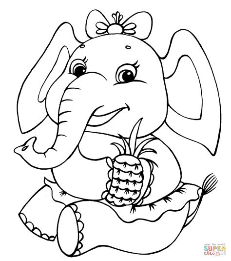 Girl Elephant Coloring Pages | elephant girl coloring page free printable coloring pages