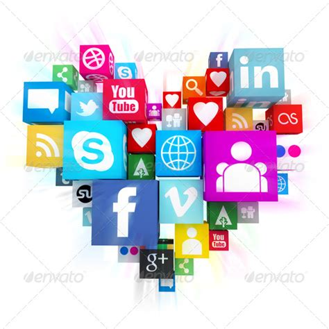 social media icons in heart shape graphicriver