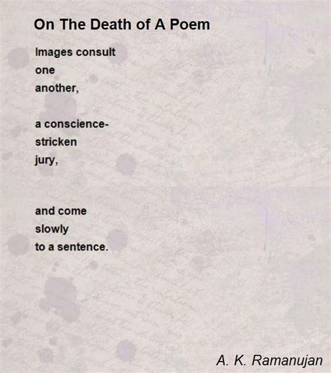 on the of a poem poem by a k ramanujan poem