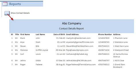 access templates for contact management database software