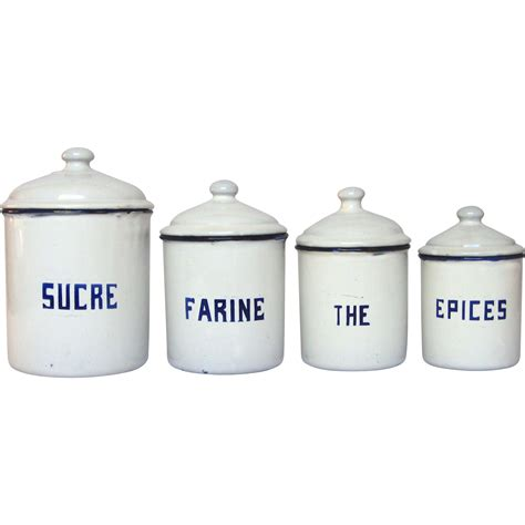 French Enamel Canister Set | french enamel graniteware canister set early 1900s from