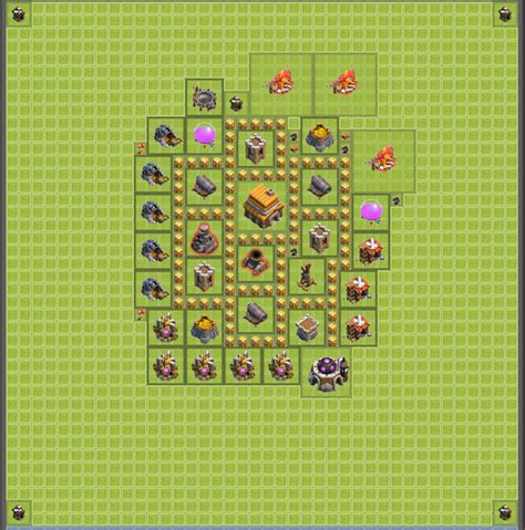 layout coc untuk th 5 coc th 5 base defense
