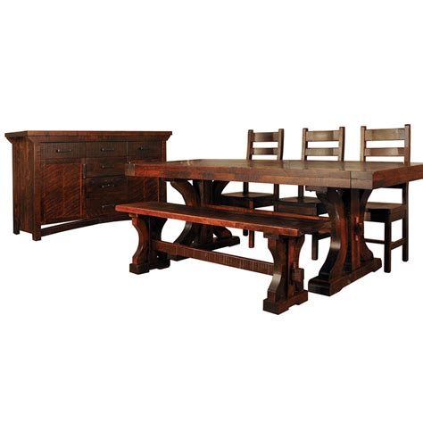 rustic dining chairs canada rustic carlisle trestle table home envy furnishings
