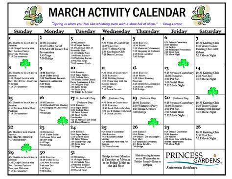 sle activities calendar nursing home calendar