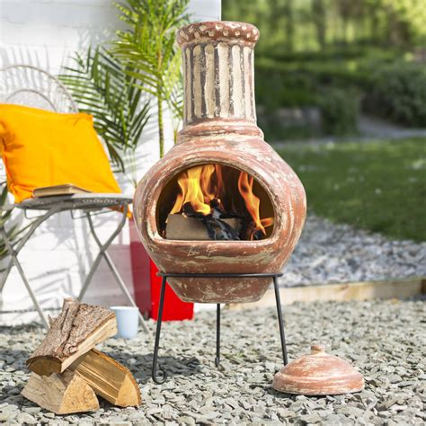 large clay chiminea by garden leisure notonthehighstreet