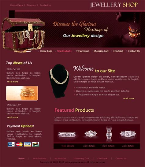 css templates for jewellery website free website templatesfree yt jw0105 template