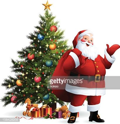 photo of santa claus and christmas tree santa claus tree vector getty images
