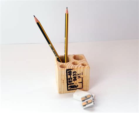 Handmade Pen Holder - wooden pencil holder recycled pen holder handmade pencil