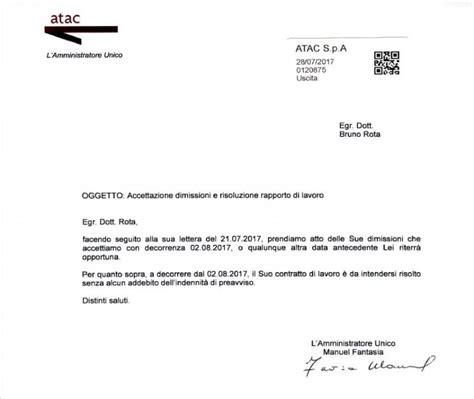 lettere di dimissioni con preavviso atac roma ecco la lettera con cui fantasia accetta le