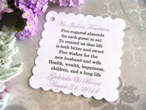 meaning of almonds at a wedding 300 custom printed almond wedding favor tags on