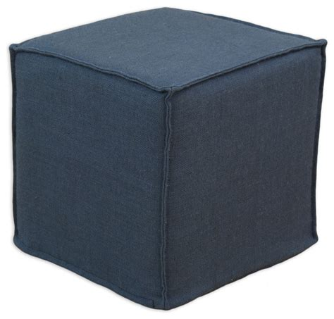 ottoman foam burlap square seamed foam ottoman navy 17 quot transitional outdoor footstools and ottomans