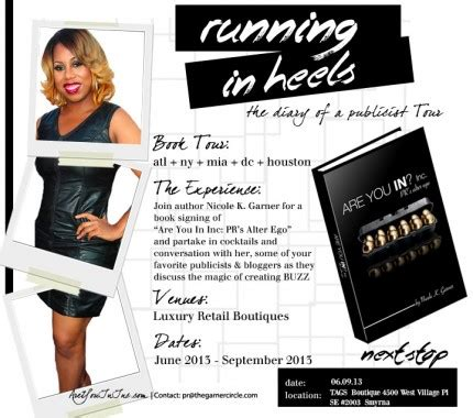the of running in heels books publicist now author k garner launches quot are you