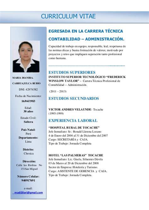 Modelo De Curriculum Vitae Para Jefe De Ventas Cv Dianira Carhuajulca Rubio