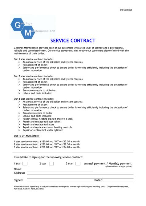 service contract template service contract sle in word and pdf formats