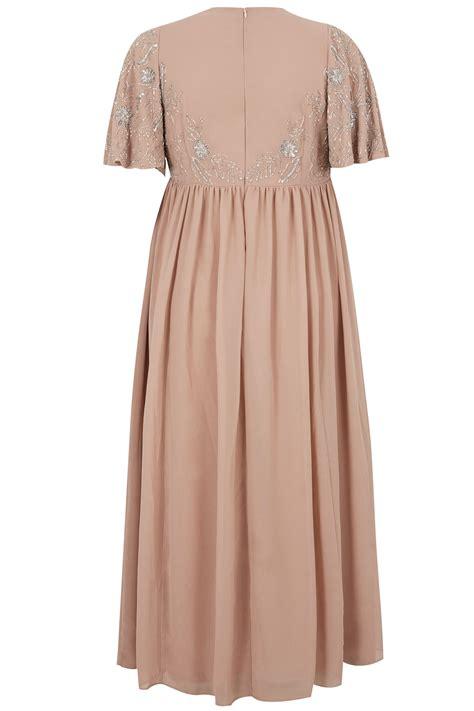 Embelished Bow Dress Minimal luxe blush pink embellished chiffon maxi dress with
