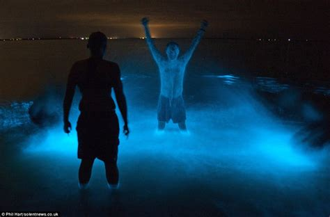 radioactive glow in the paints australian lake bioluminescence makes swimmers glow in