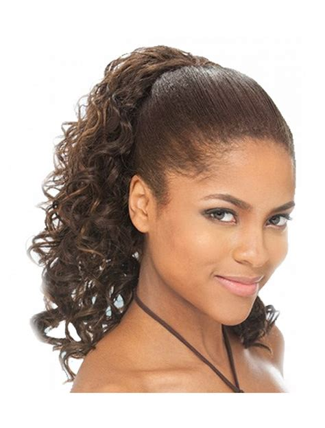 black woman drawstring ponytail hairstyles 120g curly pony tail hairpieces clip in peruvian remy hair